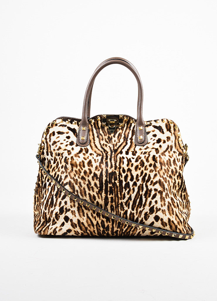 Valentino Brown, Tan, and Gold Leopard Print Pony Hair Rocktstud Handbag Frontview