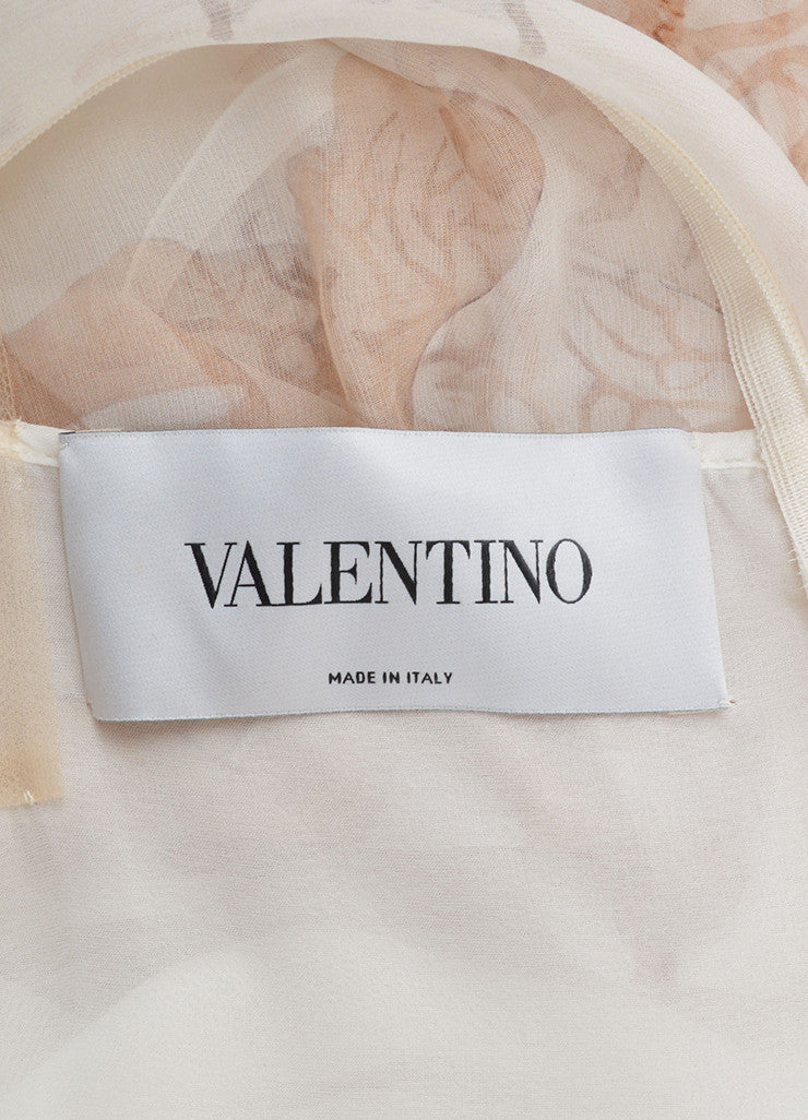 Valentino Cream and Brown Silk Chiffon Coral Print Sleeveless Sheer Dress Brand