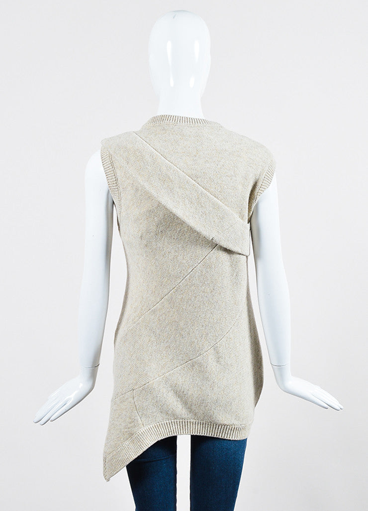 "Beige ""Cream Melange"" Victoria Beckham Wool Sleeveless Sweater Backview"