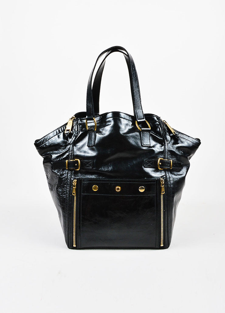 "Yves Saint Laurent Black Leather Stud and Zip Detail ""Medium Downtown"" Tote Frontview"