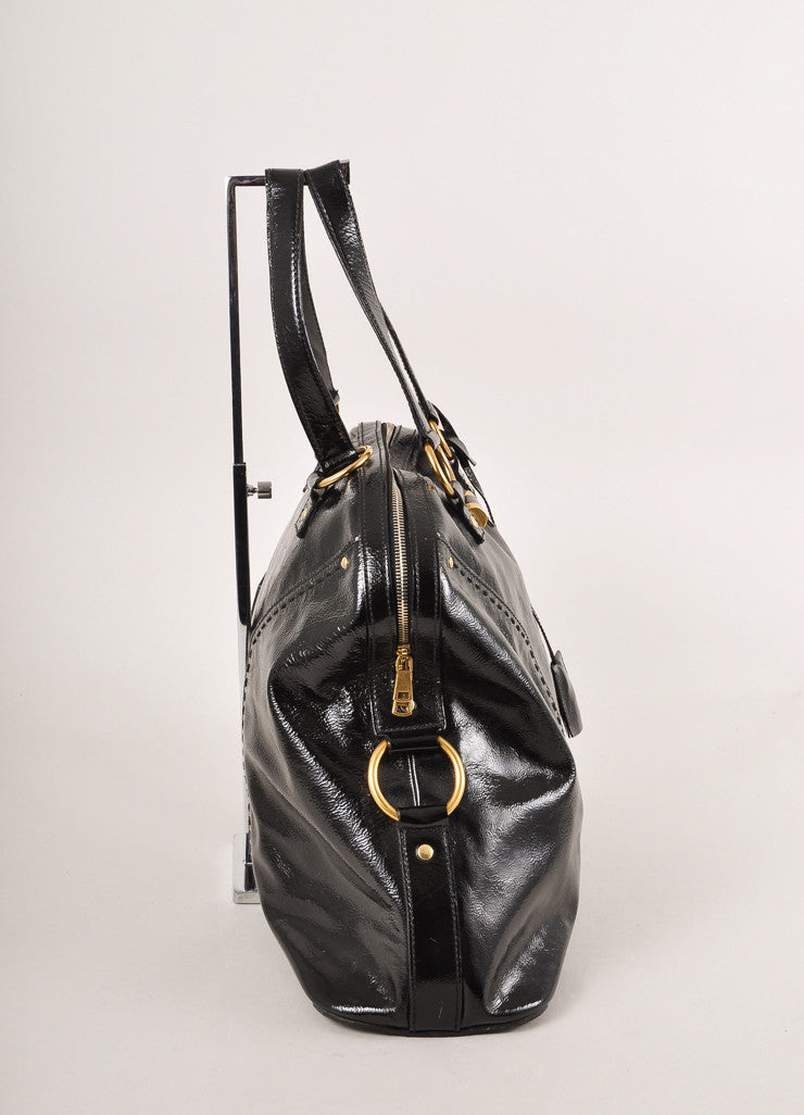 "Yves Saint Laurent Black and Gold Toned Patent Leather Oversized ""Muse"" Bag Sideview"