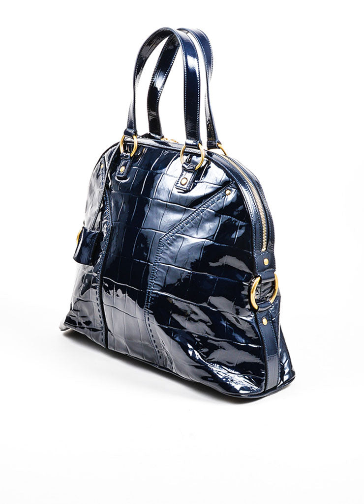 Navy Blue Yves Saint Laurent Crocodile Embossed Patent Leather Large Muse Bag Sideview