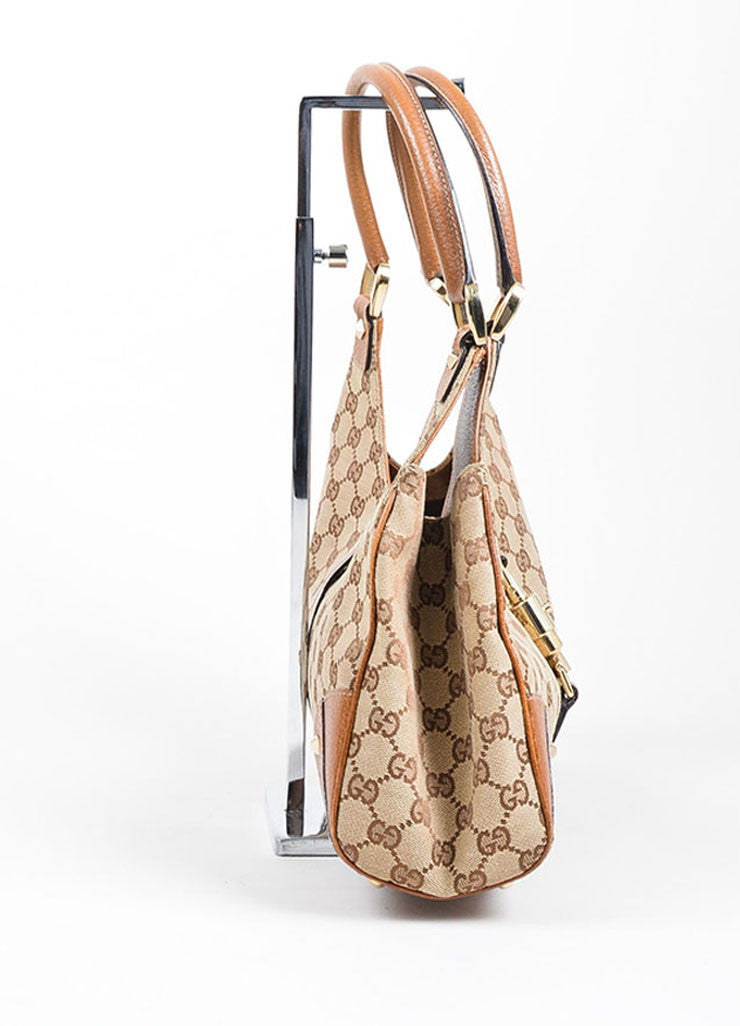 "Tan Gucci Monogram Canvas ""Nailhead Bardot"" Bag Sideview"
