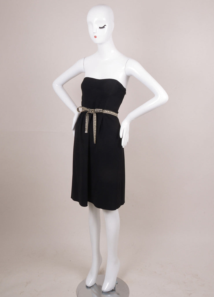 Black Measuring Tape Belt Strapless Dress