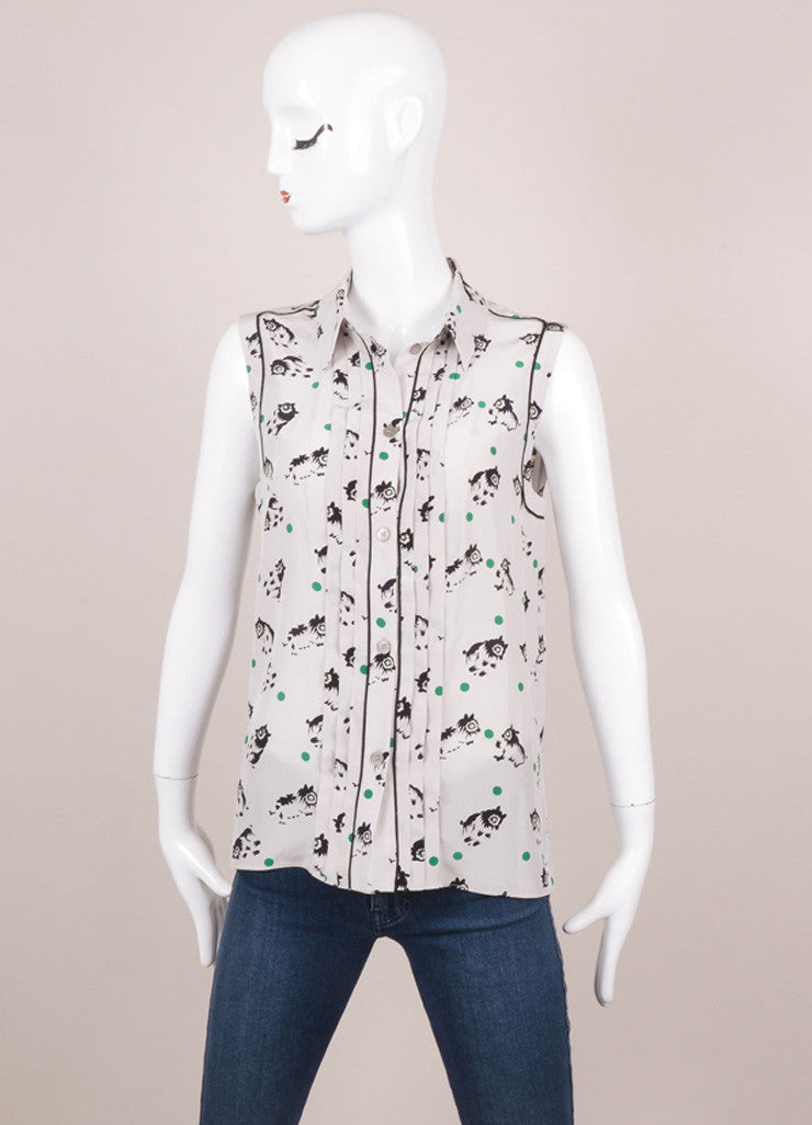 Grey Green Black Marni Dot and Animal Print Sleeveless Silk Blouse