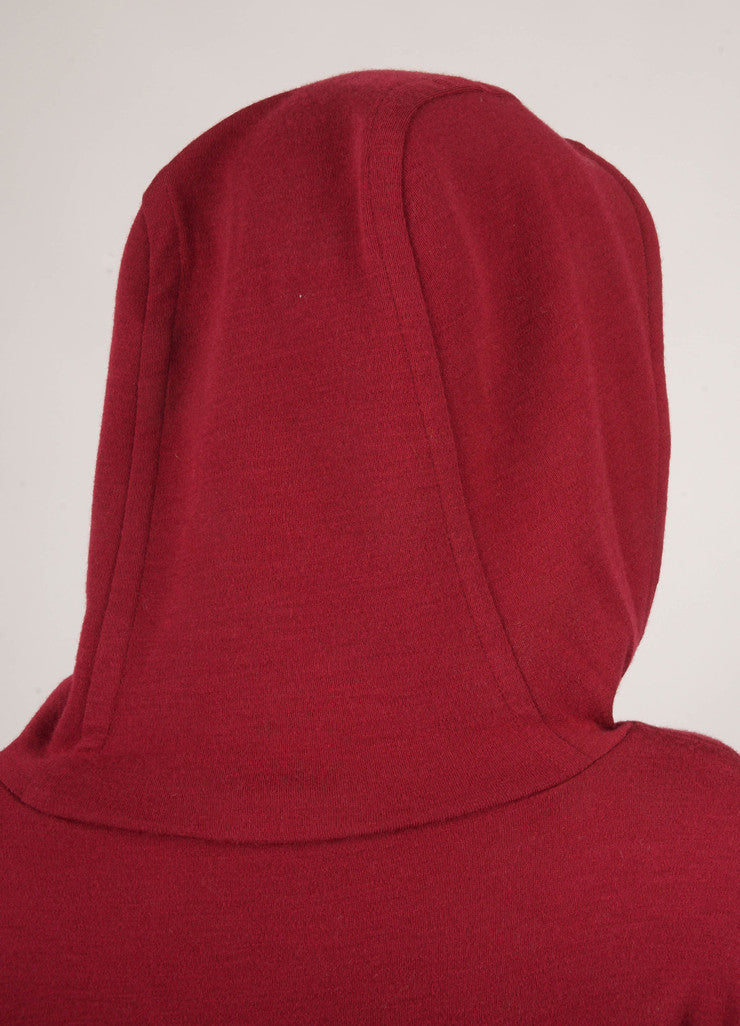Dark Red Long Sleeve Hooded Wool Sweater