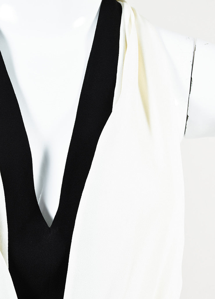 Valentino Black and White Silk Crepe Plunging Neck Color Block Gown Detail