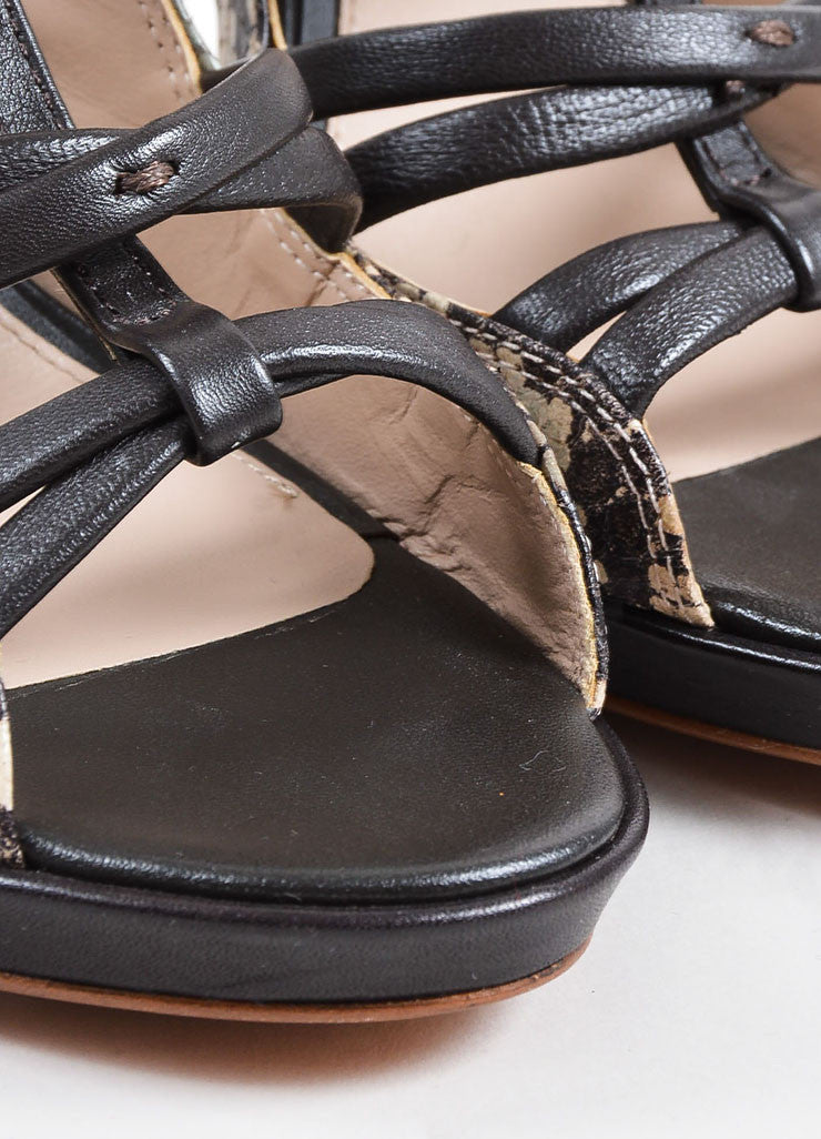 "10 Crosby Derek Lam Black and Grey Snakeskin Leather ""Jims"" Cage Sandals"