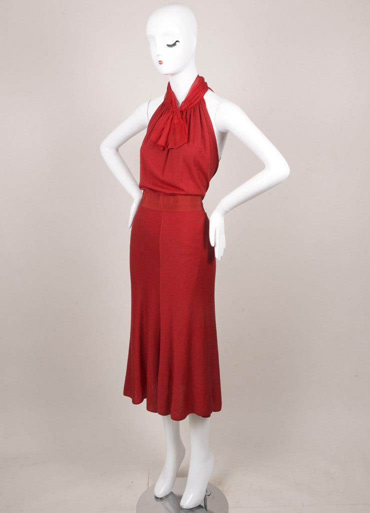 Giambattista Valli Red Wool Knit Silk Chiffon Dress Sideview