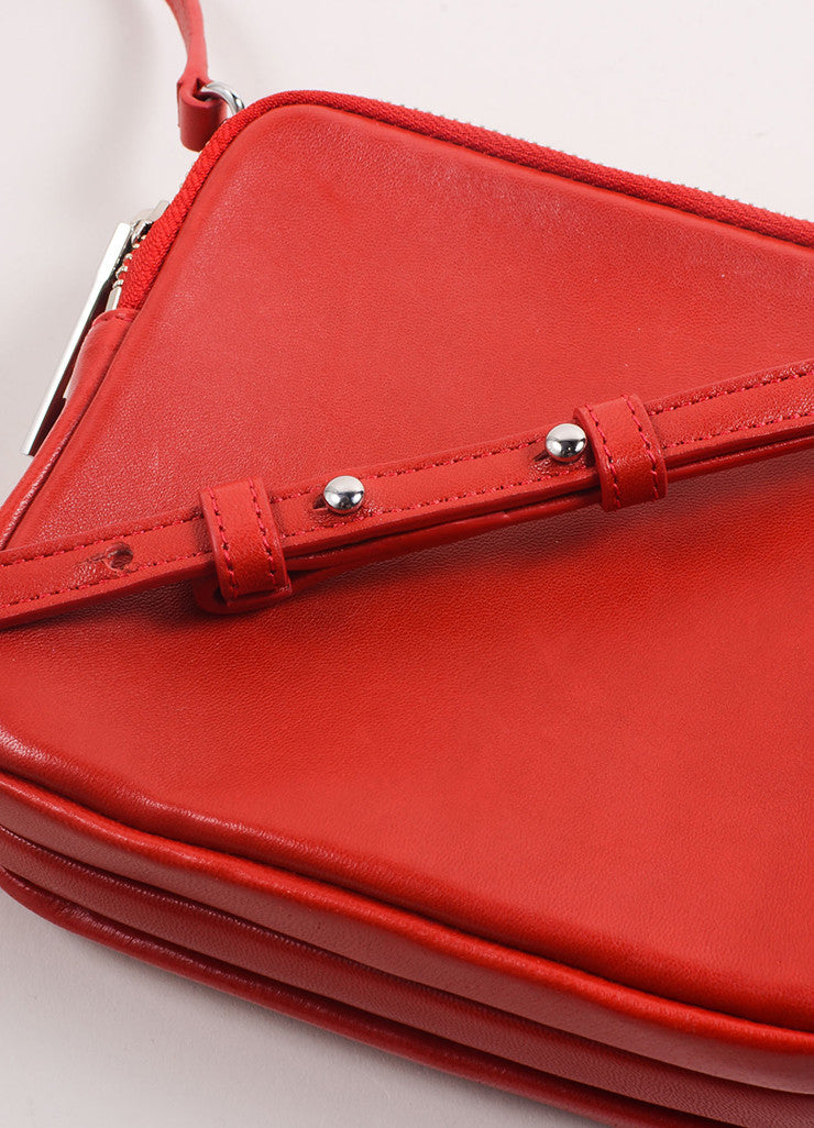 A.L.C. Red Leather Three Zip Pouch Cross Body Bag Detail 2