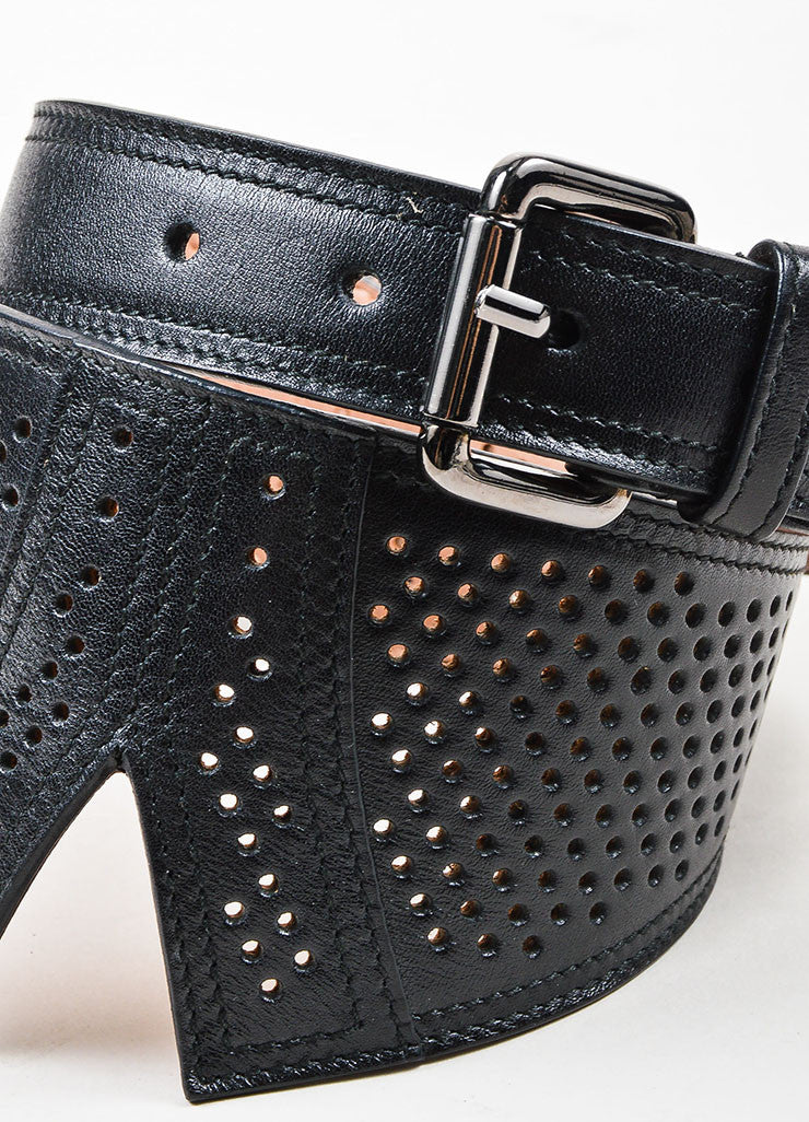 Alaia Black Leather Perforated Wide Waist Belt Detail