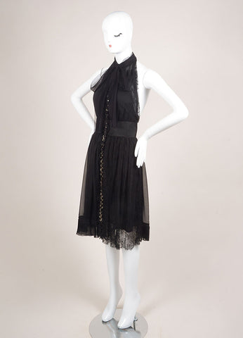 Alberta Ferretti Black Sleeveless Jewel Embellished Lace Chiffon Dress Sideview