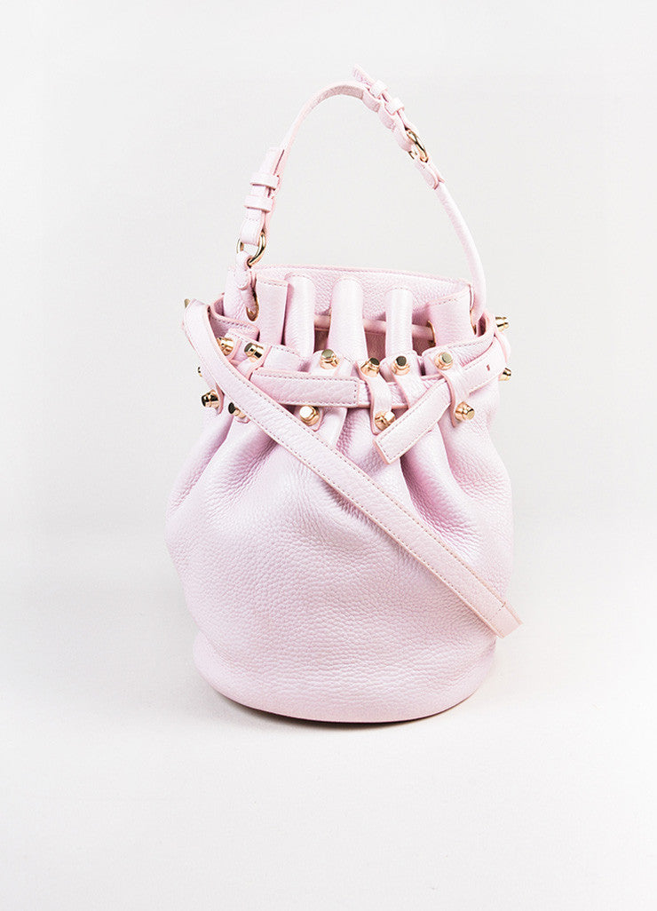 "Alexander Wang Light Pink Leather Studded Drawstring ""Diego"" Bucket Hobo Bag Frontview"