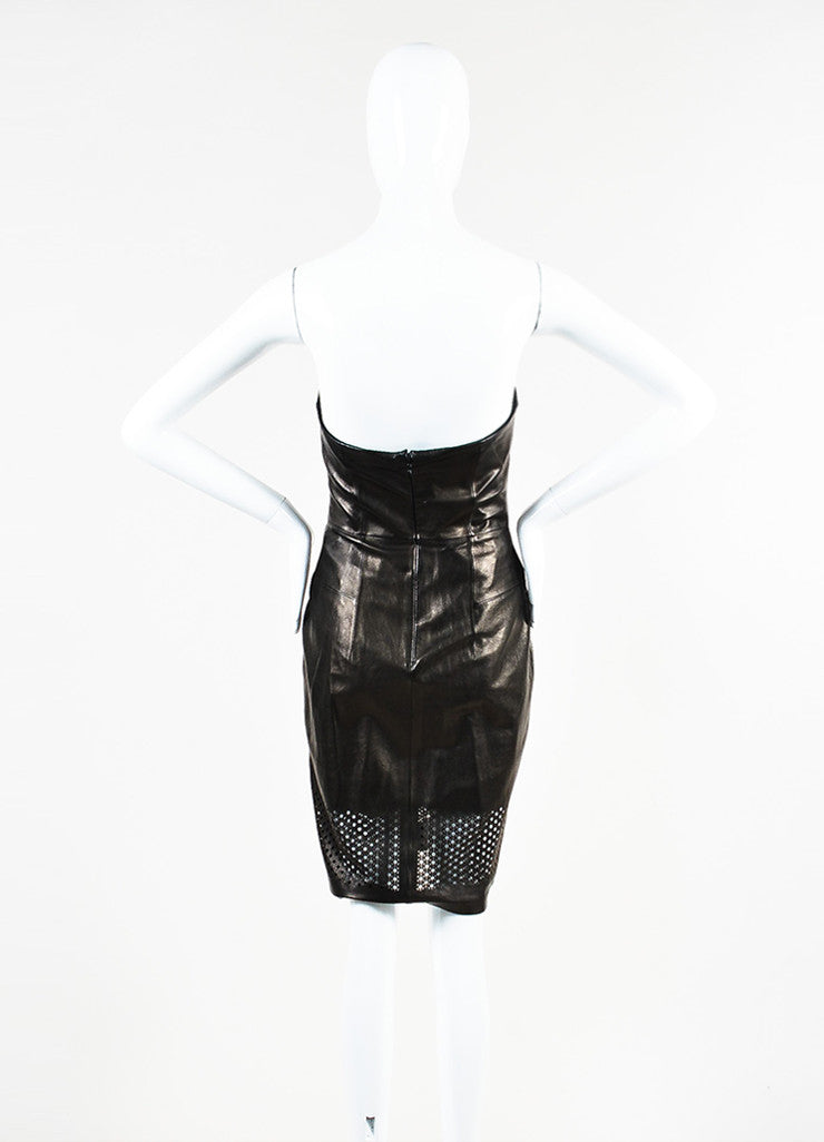 Alexander Wang Black Leather Laser Cut Strapless Sheath Dress Backview