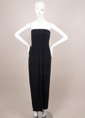 Giorgio Armani Black Silk Strapless Corset Long Dress Frontview