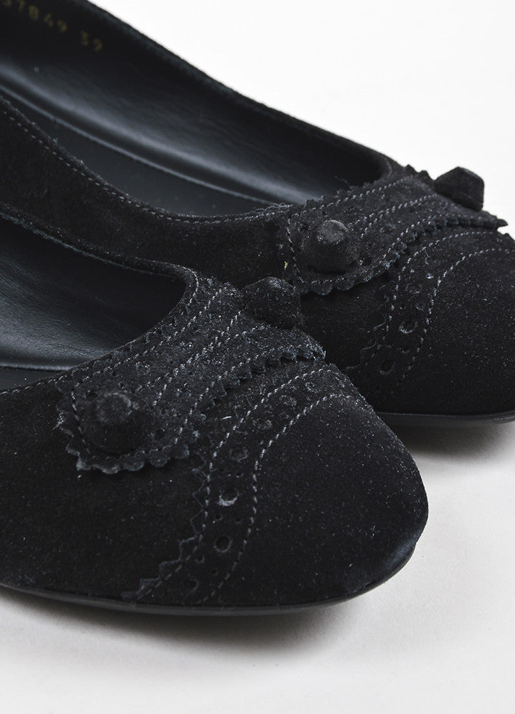 "Balenciaga Black Suede Perforated Trim ""Arena"" Ballet Flats Detail"