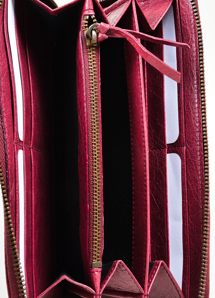 Maroon Red Leather Classic Continental Zip Around Wallet Interior
