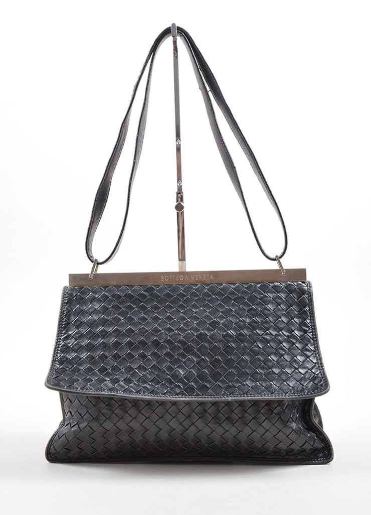 Bottega Veneta Black Intrecciato Basketwoven Leather Metal Frame Bag Frontview