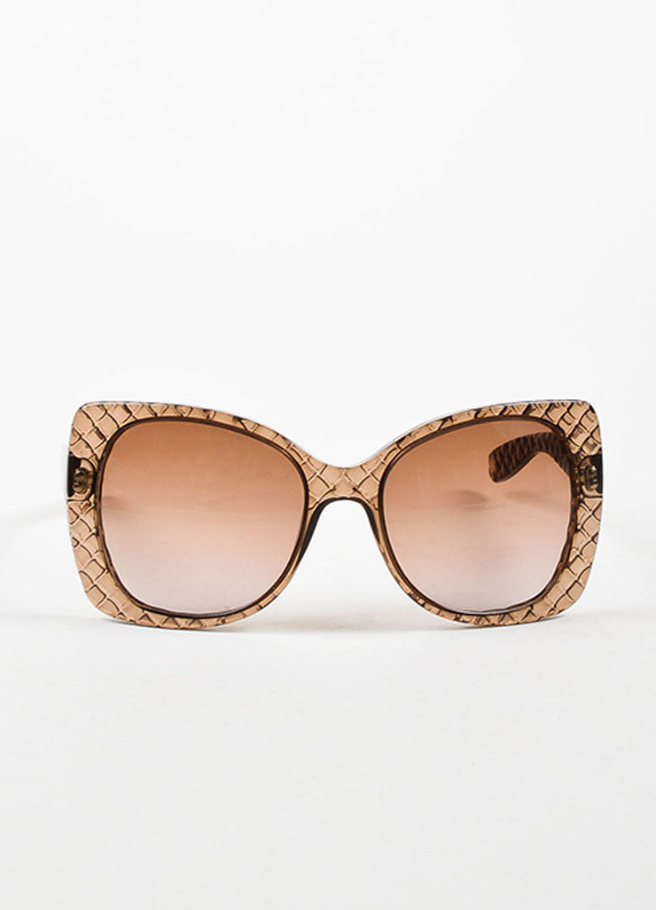 "Bottega Veneta Taupe Transparent Quilted ""Butterfly"" Sunglasses Frontview"