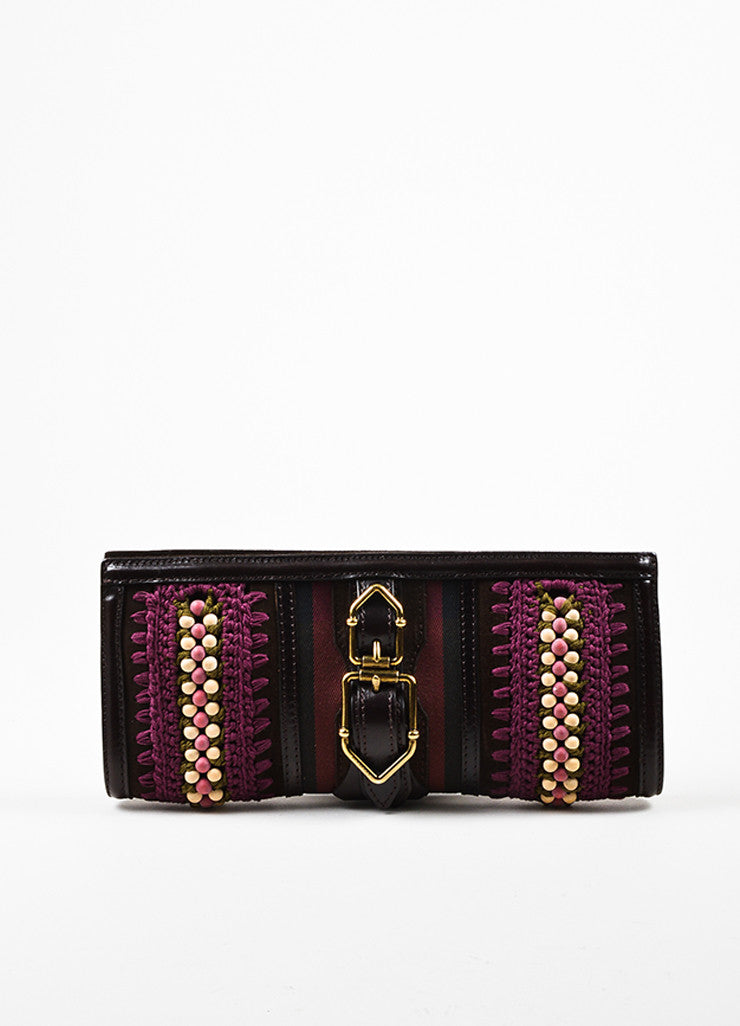 Burberry Prorsum Purple and Brown Canvas and Leather Buckle Clutch Bag Frontview