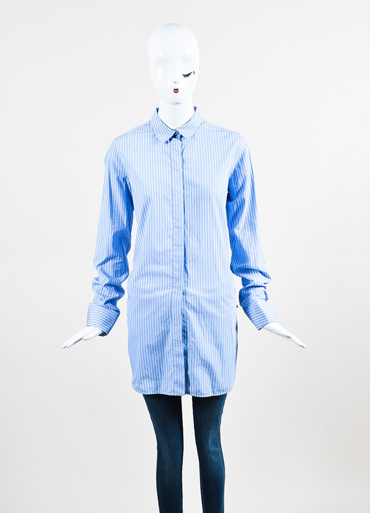 •ÈÀCeline Blue White Cotton Striped Oversized Button Down Long Sleeve Shirt Frontview