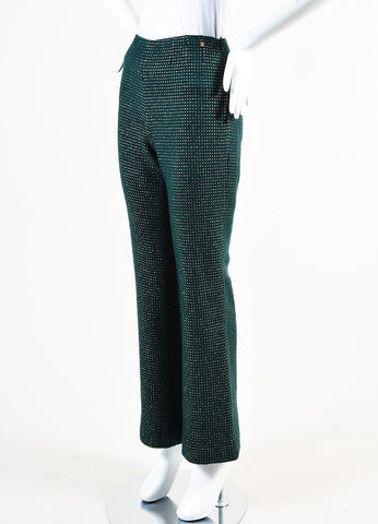 Chanel Hunter Green and Gold Wool Dotted High Waisted Trouser Pants Sideview