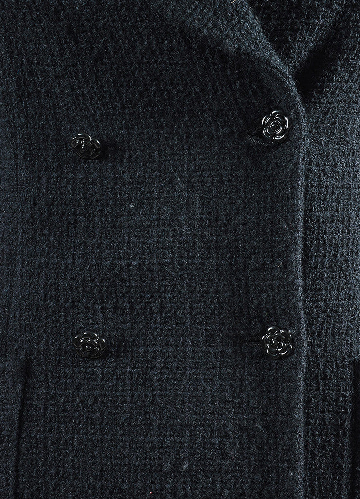 Black Wool and Angora Tweed Camellia Button Double Breasted Jacket Detail