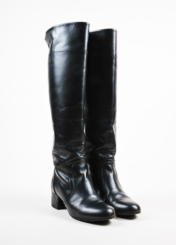 Chanel Black Leather Quilted Heel Zipped Knee High Riding Boots Frontview
