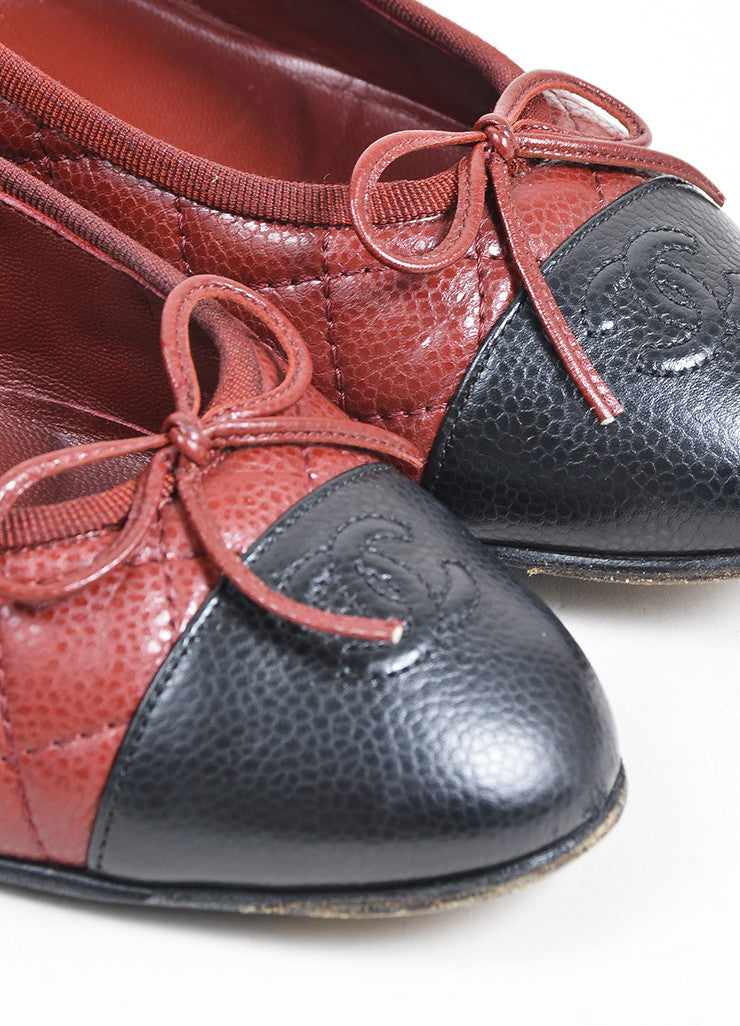 Dark Red and Black Chanel Caviar Leather 'CC' Cap Toe Ballet Flats Detail