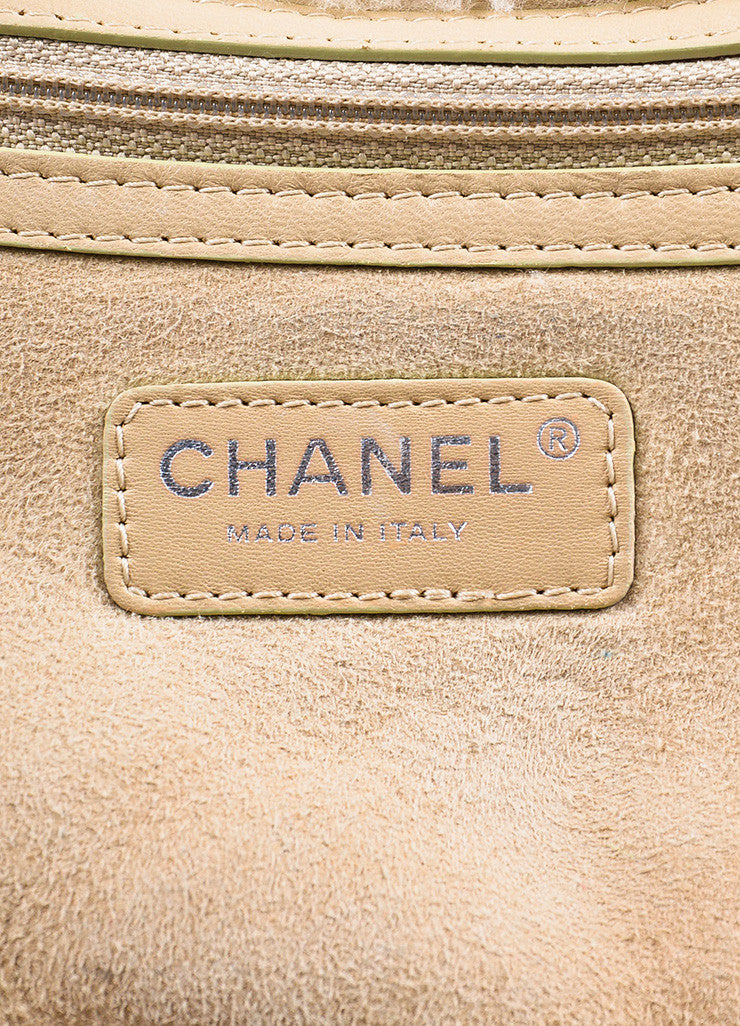Chanel Beige Quilted Shearling 'CC' Logo Chain Strap Bag Brand