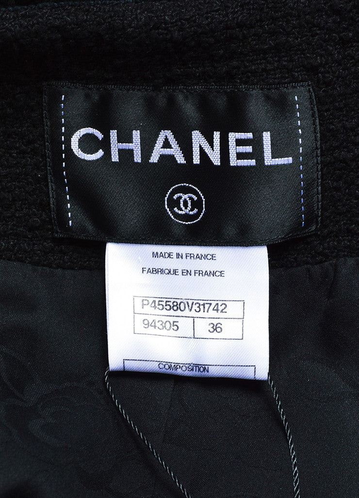 Chanel Black Cotton Tweed Grosgrain Cropped Sleeve Tailored Jacket Brand