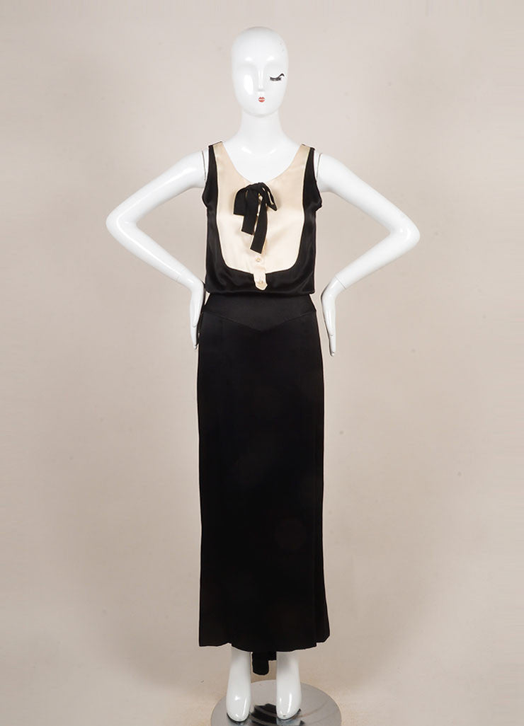 Chanel Black and Cream Rhinestone Button Tuxedo Style Open Back Sleeveless Gown Frontview