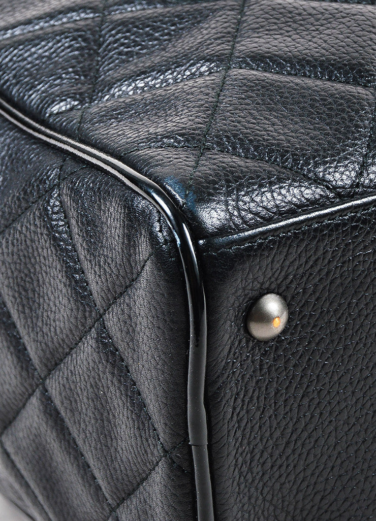 Chanel Black Leather Glossy Logo Detail and Top Handle Quilted Bowler Bag Detail