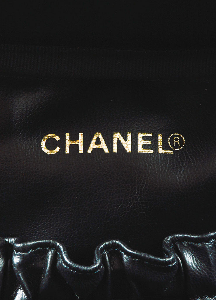 Chanel Black Patent Leather 'CC' Logo Zip Around Cosmetic Vanity Case Bag Brand