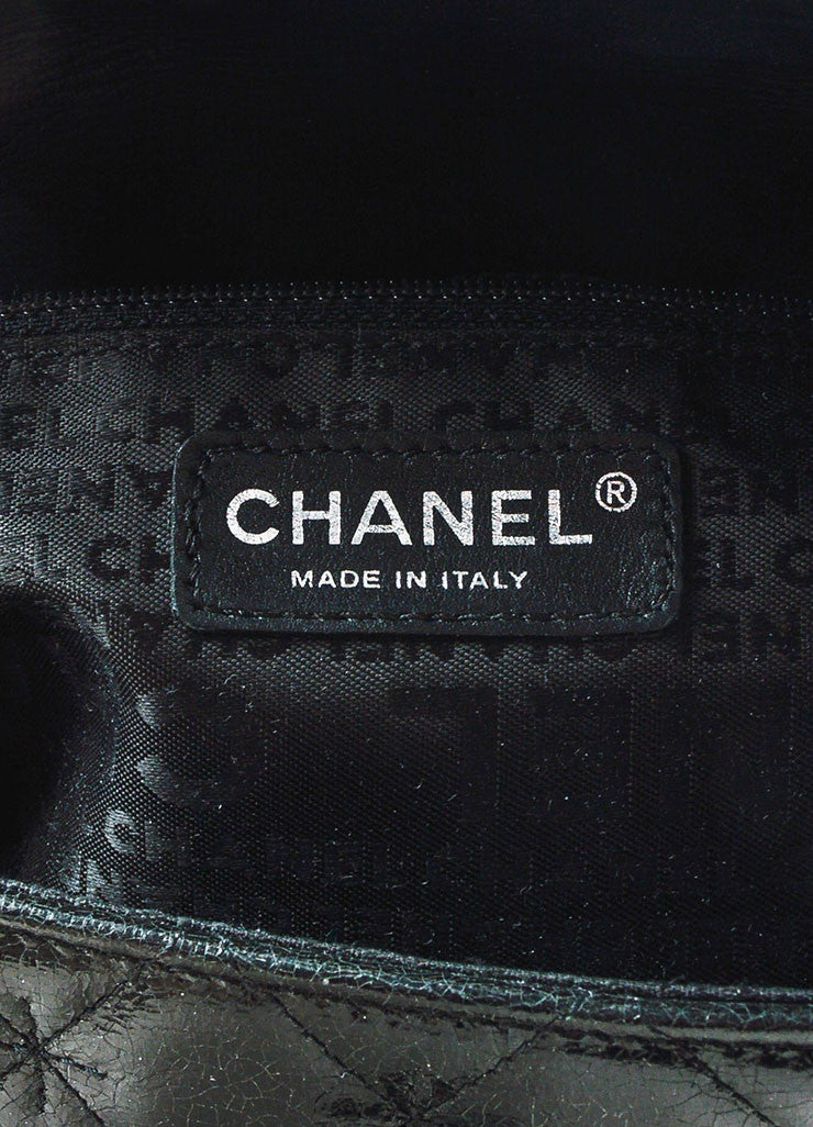 Black Chanel Quilted Glazed Crackled Leather Mademoiselle Chain Strap Bag Brand