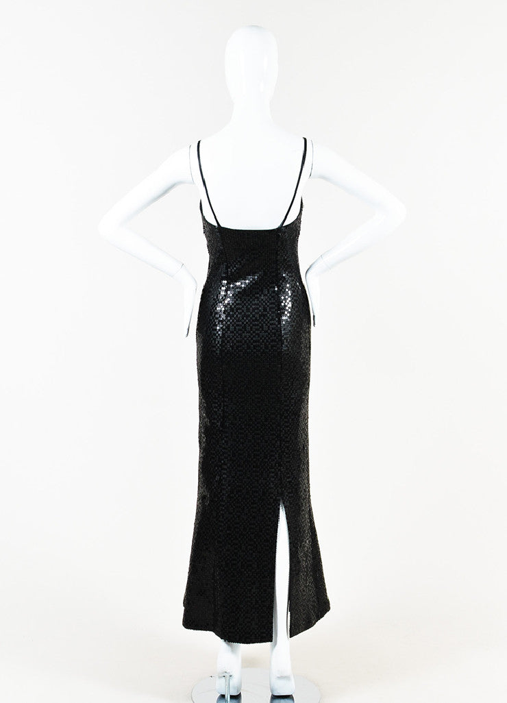 Chanel Black Wool Blend Long Sequin Embellished Split Evening Dress Backview