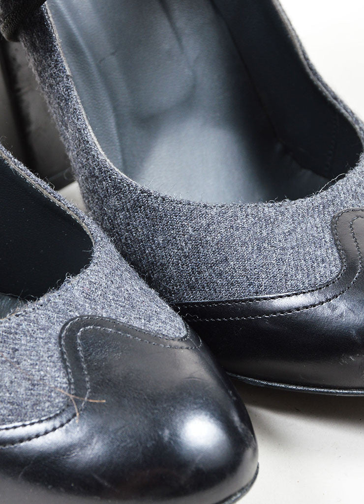 Charcoal Grey Chanel Woolen Leather Trim Mary Jane Pump Detail