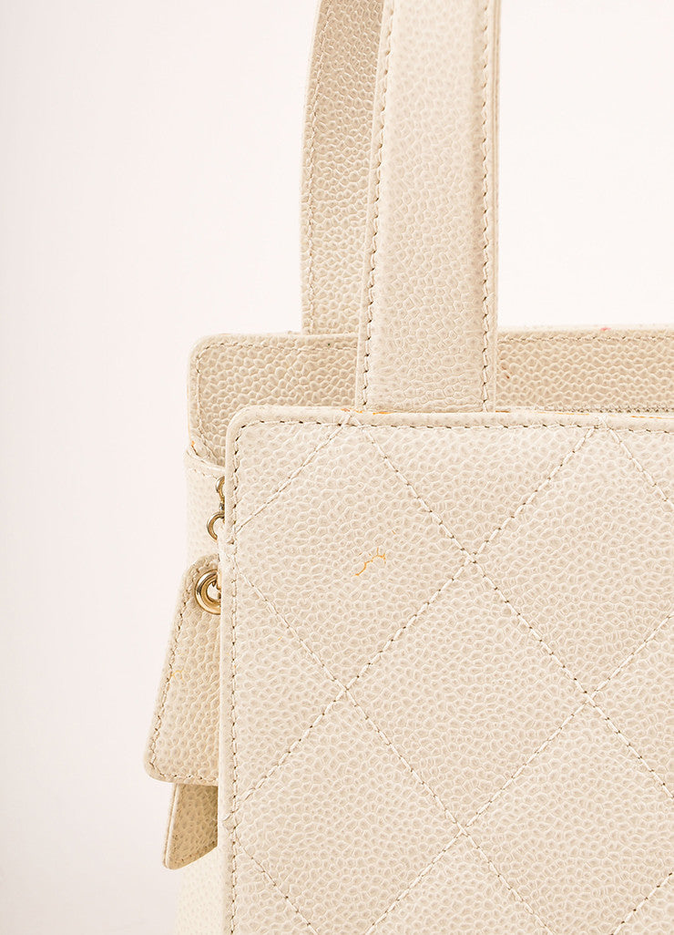 "Chanel Cream Quilted Caviar Leather ""CC"" Logo Small Square Tote Bag Detail 2"
