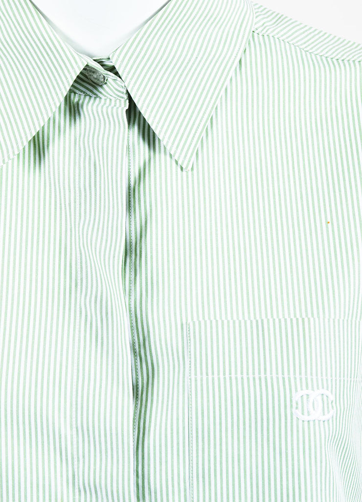 Chanel Green and White Cotton Striped Logo Pocket Sleeveless Button Up Shirt Detail