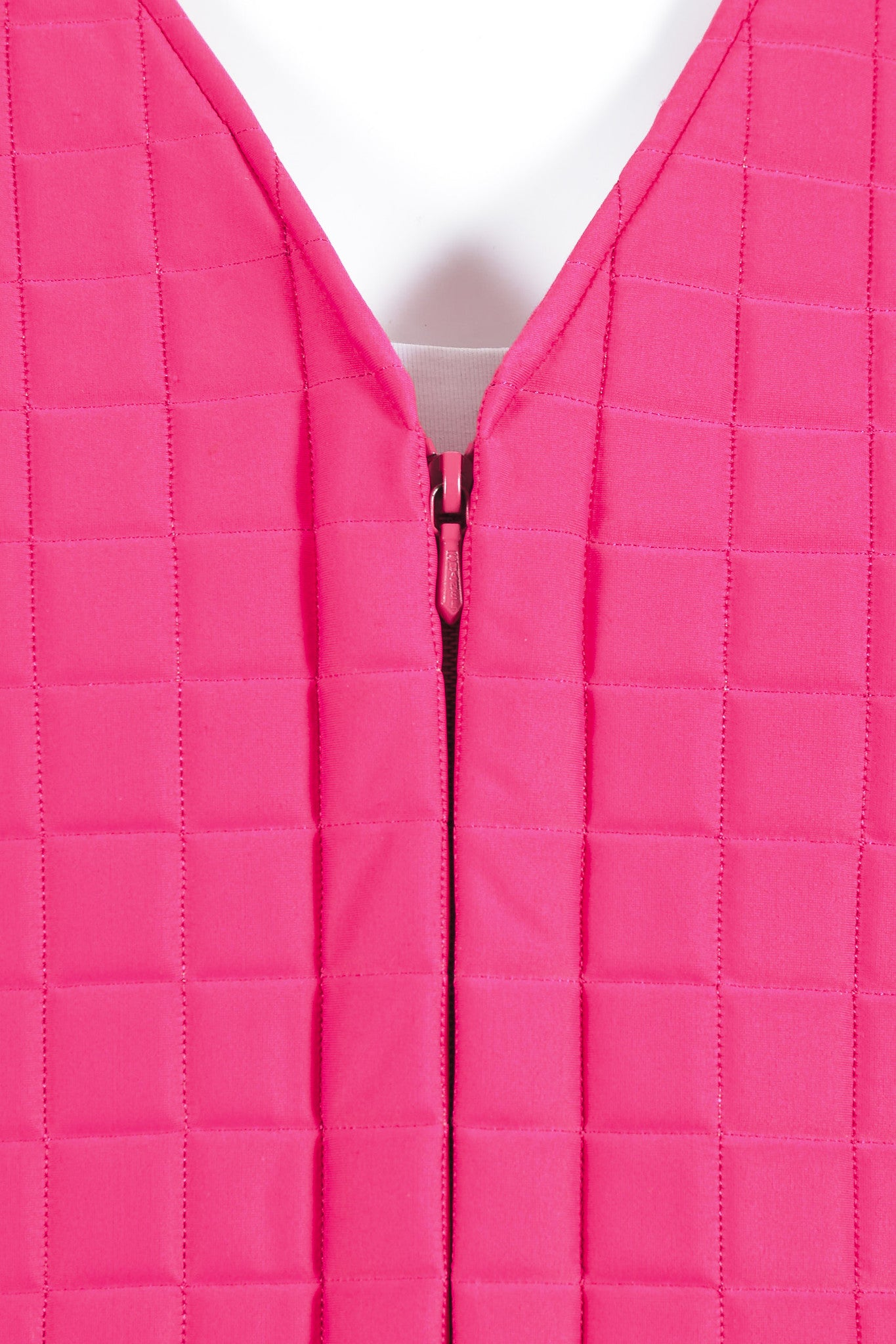 Hot Pink Chanel Padded Nylon Quilted Jacket Detail