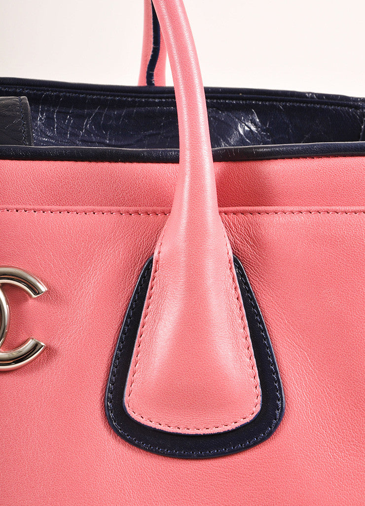 "Chanel Pink and Navy Leather ""CC"" Logo Tote Bag Detail 2"