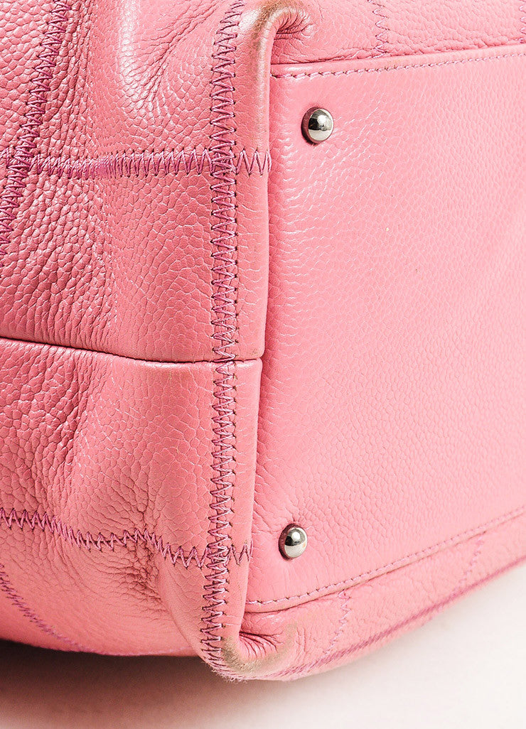 Chanel Pink Quilted Caviar Leather 'CC' Tote Bag Detail