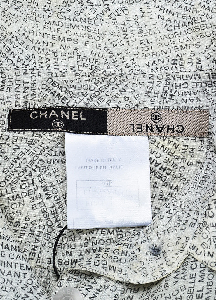 Chanel White and Black Word Print Pointed Collar Cap Sleeve Button Blouse Top Brand