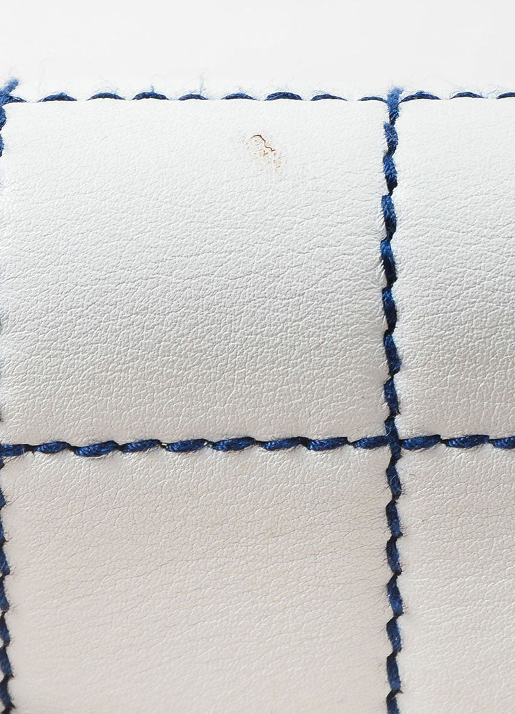 Chanel White Leather Navy Contrast Stitch Shoulder Flap Bag Detail 3