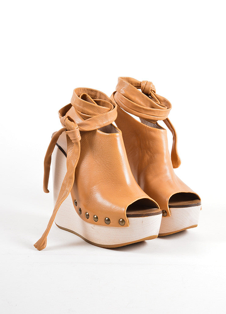 Chloe Brown Leather Studded Platform Wrap Wedges Frontview