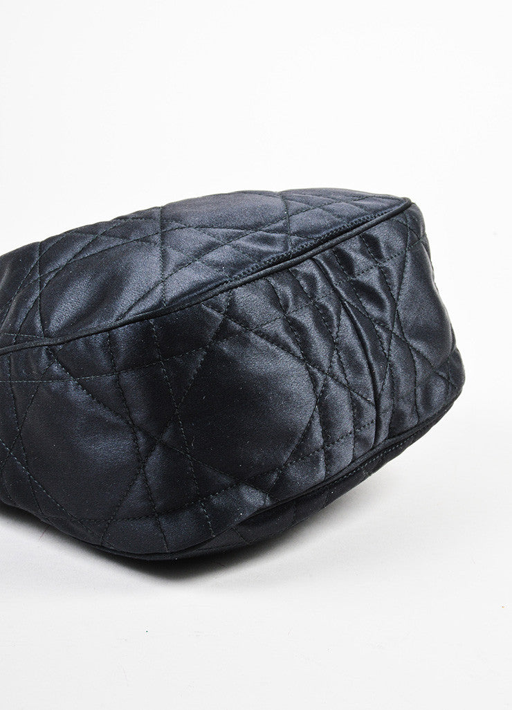 "Black Christian Dior Satin and Leather Quilted ""Cannage Evening"" Bucket Bag Bottom View"