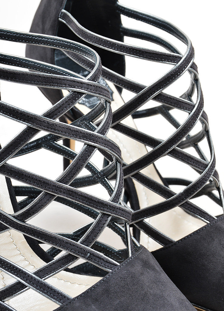 "Grey Christian Dior Suede Pointed Toe ""Captive"" Caged Pumps Detail"