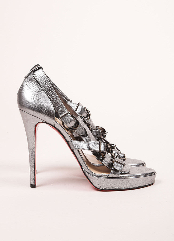 "Christian Louboutin New In Box Silver Metallic Leather ""Lima"" Sandals Sideview"