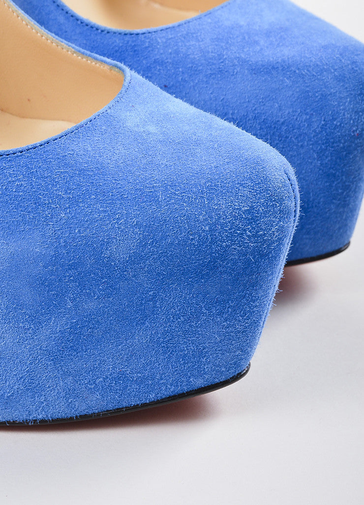 "Christian Louboutin Blue Suede Platform ""Daffodile"" Pumps Detail"