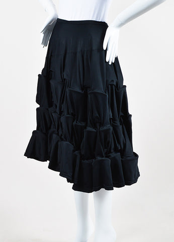 Comme des Garcons Black Jersey Tiered Ruched Multi Hoop A-Line Skirt Sideview